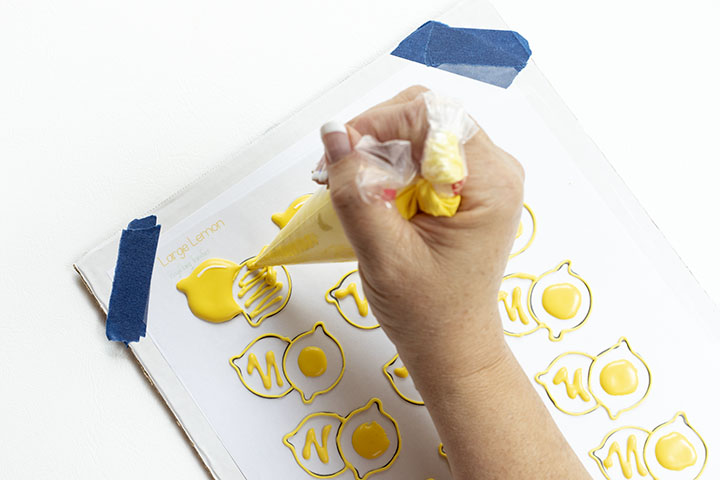 lemon, lemons, royal icing transfers, lemon royal icing transfers, the Bearfoot Baker