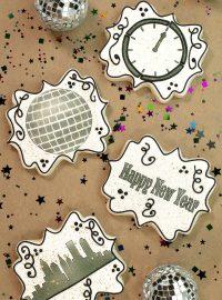 New Year Cookies, The Bearfoot Baker, sugar cookies, royal icing, airbrushed cookies