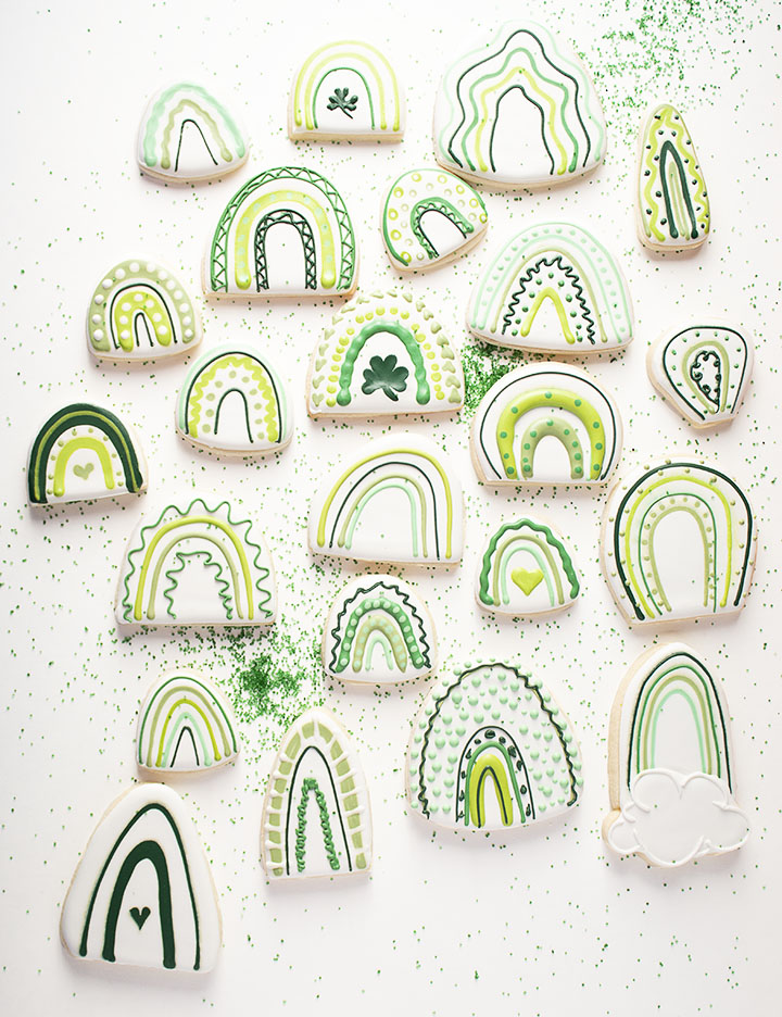 boho rainbow, St. Patrick's Day, wet on wet royal icing, The Bearfoot Baker, shift cookie cutters, holiday cookies