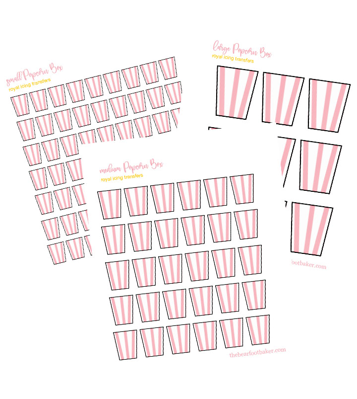 popcorn, royal icing transfers, royal icing candy, movie night, The Bearfoot Baker