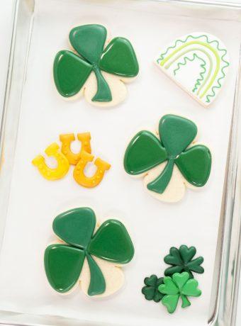 Shamrock Sugar Cookies, St. Patrick's Day, St. Patrick's Day Cookies, The Bearfoot Baker, Sugar Cookies, Royal Icing, Edible art