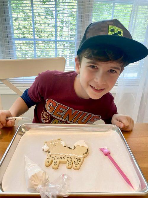 Sugar cookies, royal icing, Tripp making sugar cookies